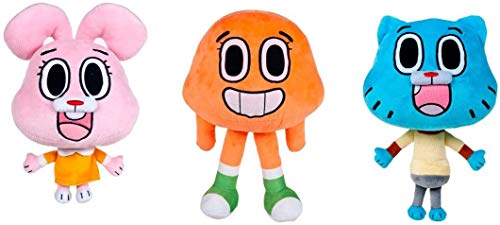 Play by Play - Gumball Amazing World Conjunto Completo 3 Felpa Plush Personajes Darwin + Anais + Gumball Original Cartoon Network - Multicolor - 28cm