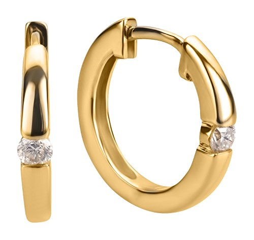 Ardeo Aurum Damen Ohrringe-Creolen aus 375 Gold Gelbgold mit 0,1 ct Diamant Brillant Klapp-Creolen