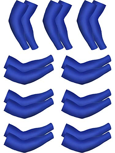 Mudder 9 Pairs Unisex UV Protection Sleeves Arm Cooling Sleeves Ice Silk Arm Sleeves Arm Cover Sleeves (Royal Blue)