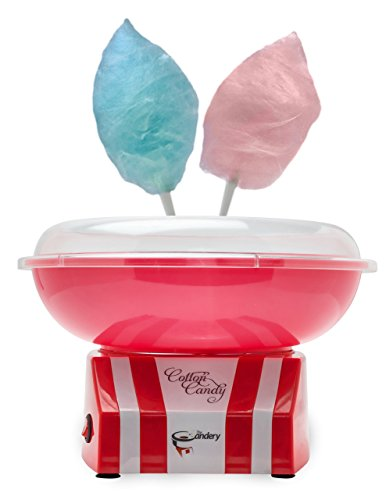 The Candery Cotton Candy Machine 2.0 - Quartz Heating Element- Bright, Colorful Style- Makes Candy, Sugar Free and Sugar Floss, Homemade Sweets for Birthday Parties - Includes 10 Candy Cones & Scooper
