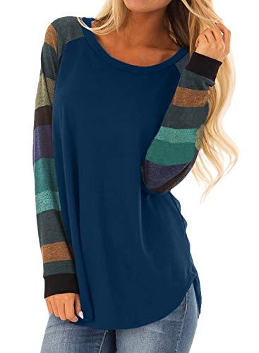 BLENCOT Womens Lightweight Color Block Long Sleeve Loose Fit Pullover Tunics Dark Blue Shirts Tops 16 18 XL