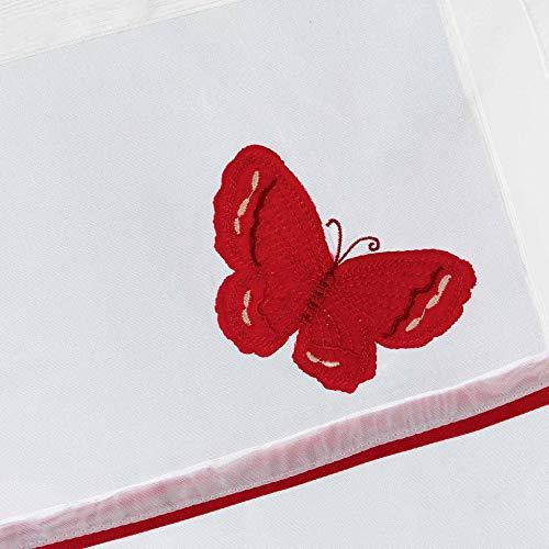Le Jardin des Cigales 3003374 OPALINE Paire droite passe tringle Polyester Rouge 160 x 60 cm