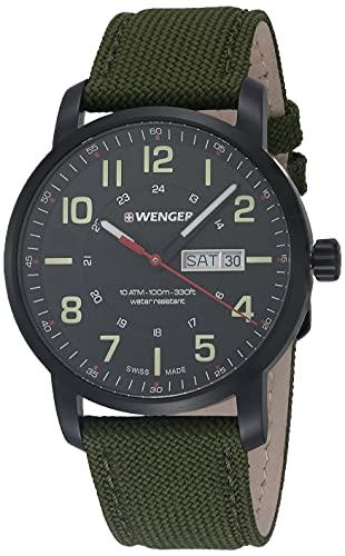 Wenger Men's Sport Stainless Steel Swiss-Quartz Watch with Nylon Strap, Green, 22 (Model:...