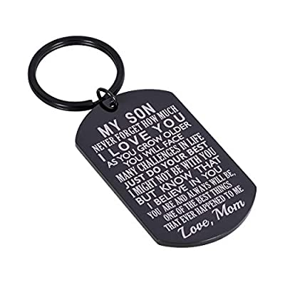 Inspirational Gift to Son from Mom Keychain Birthday Gifts for Step Son Adult Son Teen Boy from Mother in Law Stepmom Valentines Day Christmas I Love You Serve in The Army (Black)