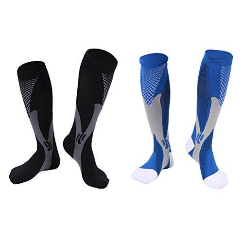 WINOMO 2 Paar Damen Herren Kompression Socken Knie Hohe Strumpf Hohe Elastische Sport Athletic Laufsocken für Übung Fußball Ball - Größe L/XL (Schwarz Blau)