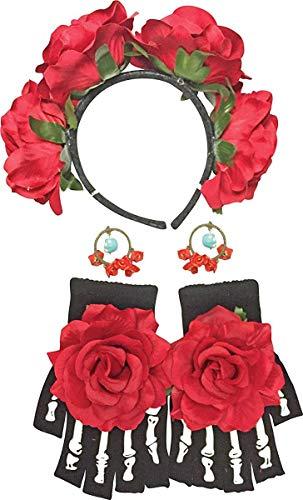 Forum Novelties Day of the Dead Costume Accessory Kit for Women - Includes Headband, Earrings & Gloves
