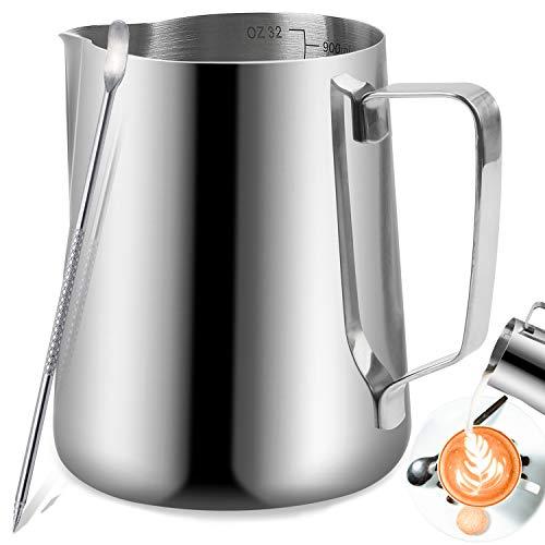 Jarritas para leche, TechKen jarra de leche acero inoxidable 350ml/600ml/900ml(12oz/20oz/32oz) para Café y Latte Art (Plata 12oz/350ml)