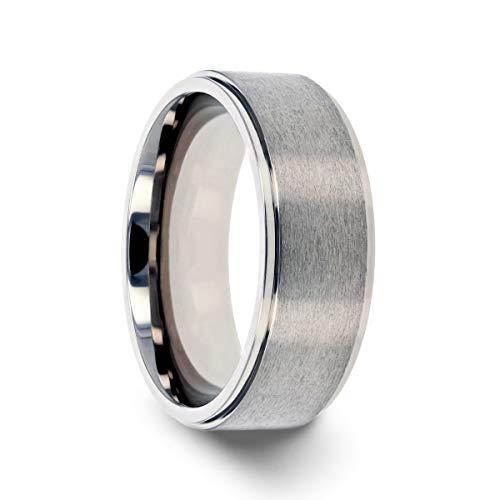 Thorsten Rhinox   Titanium Rings for Men   Lightweight Titanium   Comfort Fit   Custom Engraving   Brushed Raised Center Titanium Wedding Ring with Polished Step Edges - 8 mm