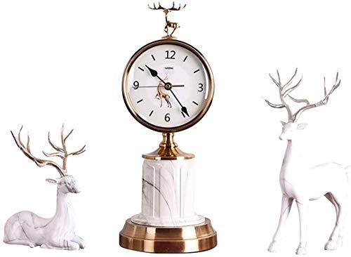 Reloj de Escritorio Reloj de Mesa Reloj de Estante Sala de Estar de Metal Porche Decoración de gabinete de TV Moda Creativo Reloj de Mesa de Dormitorio silencioso Decoración-Conjunto_Blanco