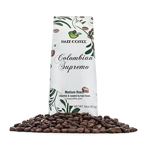 Hazz Gourmet Colombian Supremo Whole Bean Coffee, Medium Dark Roast,Rich, Smooth,Fair Trade 1 pound