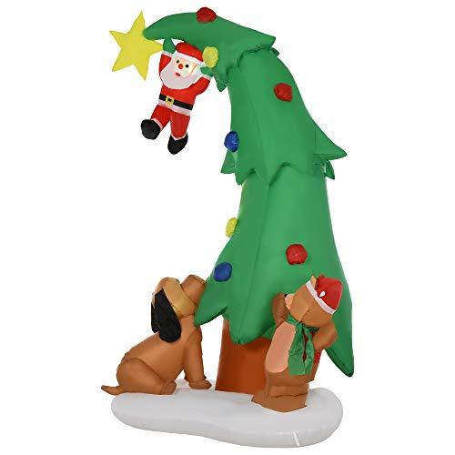 homcom Albero di Natale Gonfiabile con 11 Luci a LED, Babbo Natale Cagnolino e Orso, 224 cm, Impermeabile IP44