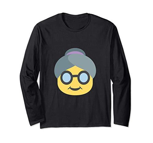 Emoji Oma Oma Süße ältere ältere Frau Brille graue Haarfalte Langarmshirt