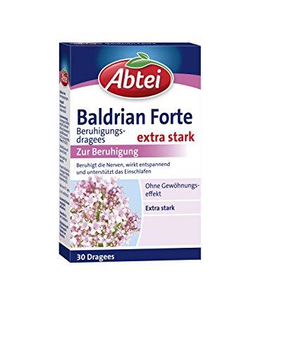 Abtei Baldrian Forte – extra starke pflanzliche Beruhigungsdragees aus der Baldrianwurzel – bei nervöser Anspannung und Schlafstörungen – ohne Gewöhnungseffekt – 1 x 30 Dragees
