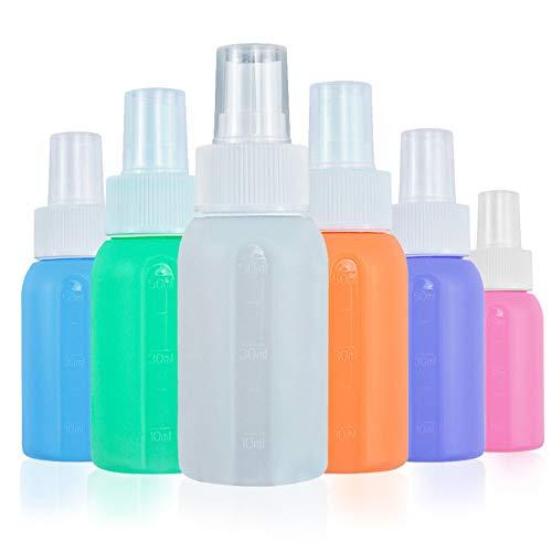 TWBEST Botella de spray de silicona,Botellas de Spray,Botella de Viaje de Silicona,Botes Spray vacios Botella de,TSA aprobó la Botella de Viaje de Silicona a Prueba de Fugas 50ML6 Piezas