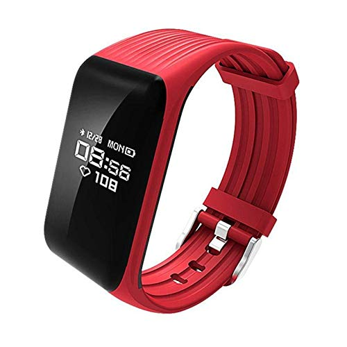 YONGLI Fitness K1 Smart Pulsera Muñeca Monitor Monitor Watch SmartWatch Sport para iOS Android (Color : Red)