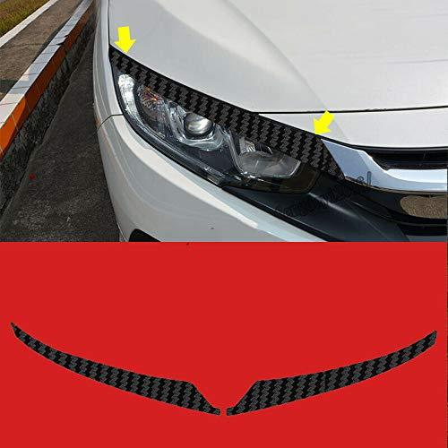 JXSMQC Koolstofvezel Sticker Koplamp Ooglid Wenkbrauw 2st.Voor Honda civic 2016 2017 2018 Auto lichte wenkbrauw