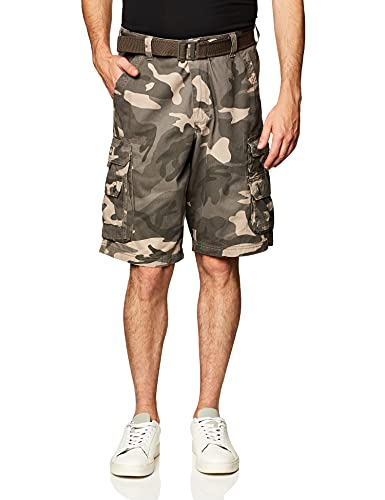 Lee Men's Dungarees Belted Wyoming Cargo Short, Ash Camo, 36
