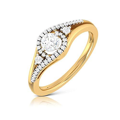 Anillo de compromiso solitario de 1/2 quilate con halo de diamantes certificados, oro de 14 quilates con grabado en oro de 1/2 quilates, Metal, Diamond,