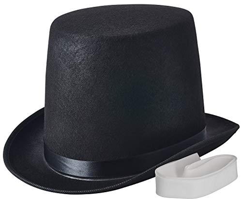 NJ Novelty - Top Hat Black Felt Costume Accessory Party Dress Up Hats Tall