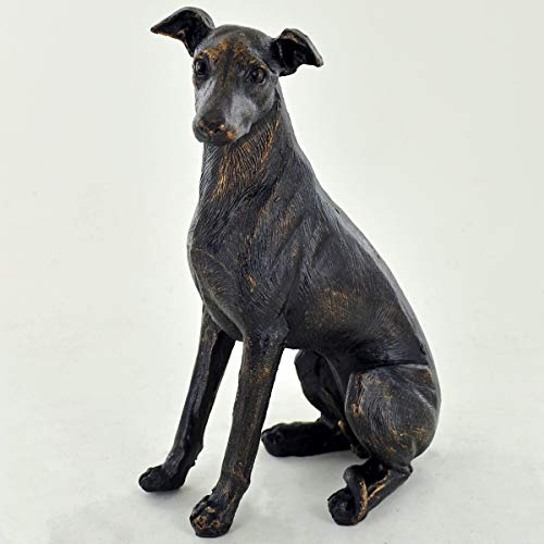 Prezentscom Hundefigur aus Kunstharz, sitzender Windhund, 15 cm hoch