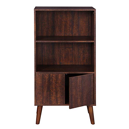 VASAGLE Bookcase, 2-Tier Retro Bookshelf with Doors, Storage Cabinet for Books, Photos, Decorations in Living Room, Office, Study, Mid-Century Style, Walnut Color ULBC09BY