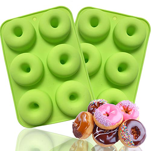 ANAEAT Silicone Donut Pan Baking Mold, Non-Stick Doughnuts Baking Pans for 6 Full-Size Donuts, Cake Biscuit Bagels - Easy Clean, BPA Free, Microwave, Oven, Dishwasher, Freezer Safe (2 Pack-Green)