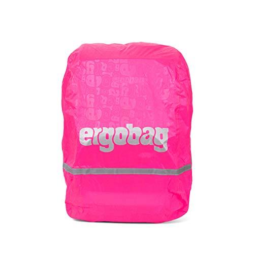 Ergobag Regencape für Schulrucksäcke, wasserdicht, Leuchtfarben, Reflektoren, Gummizug, Pink Glow