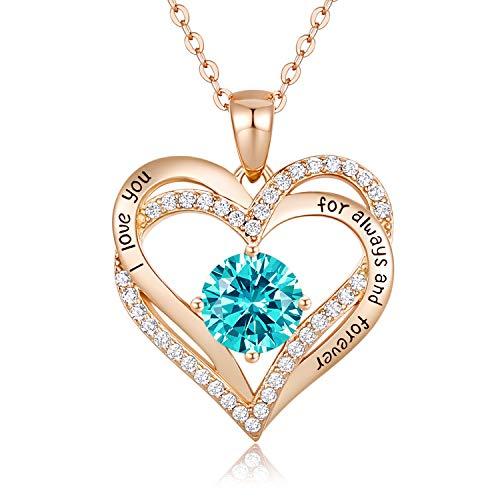CDE Collares de Corazón para Mujer de Plata 925 Collares Colgante de Mujer Colgante de Diamantes Niña, con Caja Regalo, Regalo para Día de la Madre Esposa y Novia Cian