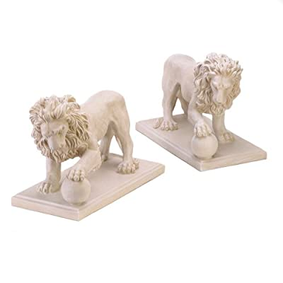 Furniture Creations Set of 2 Stately Lion Statue Duo Driveway Entrance Garden Yard Art