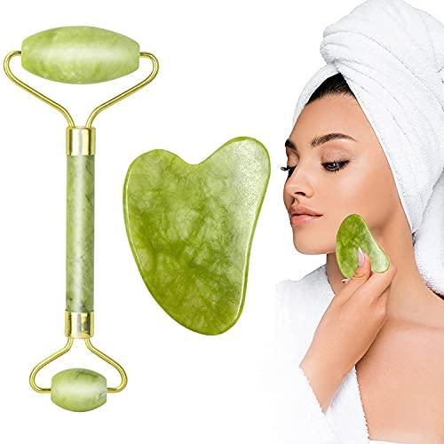 Jade Roller Gua Sha Kit de masaje, antienvejecimiento masajeador de rodillo facial de piedra de jade natural, herramienta de masaje manual para reducir la cara del cuello, arrugas y línea fina