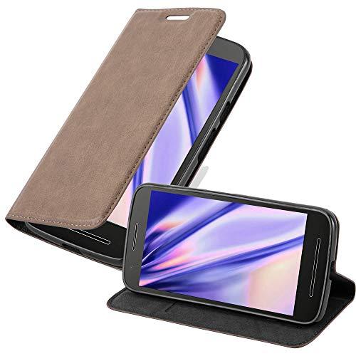 Cadorabo Hülle für Motorola Moto E3 in Kaffee BRAUN - Handyhülle mit Magnetverschluss, Standfunktion & Kartenfach - Hülle Cover Schutzhülle Etui Tasche Book Klapp Style