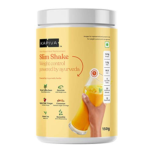 Kapiva Slim Shake – New & Improved – Powered With 6 Ayurvedic Herbs – Helps in Weight Management – 150 Grams (Mango, 6 Servings)