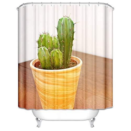 Amody Badezimmer Vorhang Fenster Kaktus Topfpflanzen Duschvorhang Lustig Anti Schimmel Größe 120x180CM Fenster Vorhang Bad