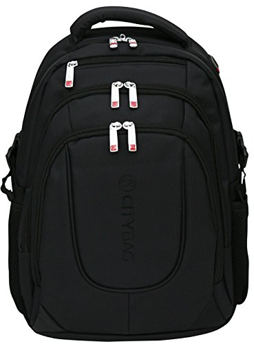 Laptop Notebook Backpack Rucksack with Ventilation, For Laptops up to 15.6Inches–Water Resistant, black (Black) - BP-801