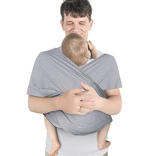 Lictin Baby Wrap Carrier Adjustable Breastfeeding Cover Cotton Sling Baby Carrier for Infants up to 35 lbs16kg Soft and Comfortable Dark Gray