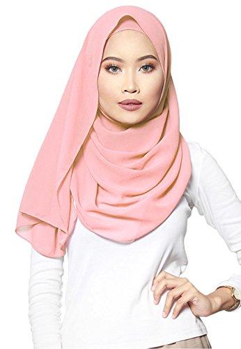 SAFIYA SAFIYA - Hijab Kopftuch für muslimische Frauen I Islamische Kopfbedeckung 75 x 180 cm I Damen Gesichtsschleier, Schal, Pashmina, Turban I Baumwolle - Rosa