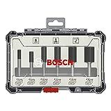 Bosch Professional 6tlg. Nutfräser Set (für Holz, für Oberfräsen mit 6 mm Schaft)