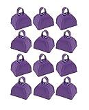 Metal School Cowbells - Set of 12 Purple Metal Cowbell Noisemakers (Purple Cowbells)
