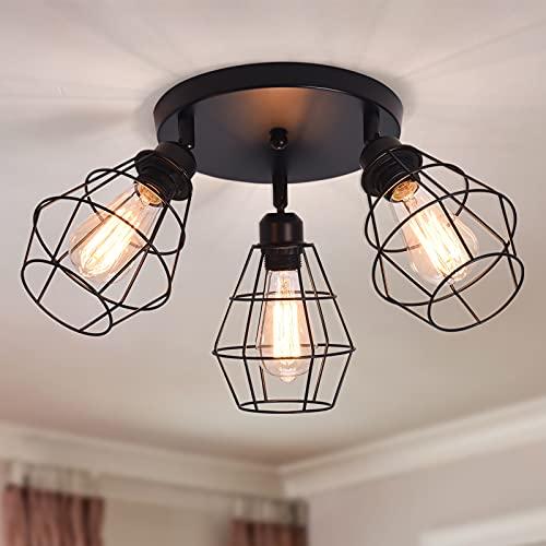 Qcyuui Lámpara de techo industrial de montaje semi empotrado, lámpara de techo rústica de 3 luces, iluminación colgante de granja de jaula de metal negro para cocina, comedor, pasillo, dormitorio