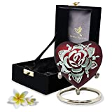 Red Heart Keepsake Urn - Mini Heart Cremation Urn for Human Ashes - Premium Box with Heart Urn Stand - Honor Your Loved One with Small Red Rose Urn Heart Shaped - Perfect for Adults & Infants
