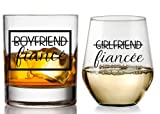 Boyfriend and Girlfriend Wine and Whiskey Glass Gift Set - Engagement Gifts for Couples - Fiance Fiancee Gift for Him and Her - His and Hers Glasses For Mr and Mrs Bride and Groom