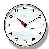 guijinpeng Relojes de Pared Paisaje Simplicidad Elegante Decoración de Pared Moderna para el hogar Reloj de Pared silencioso 35 cm Reloj de Pared con Marco Negro redondosilencioso Decorativo