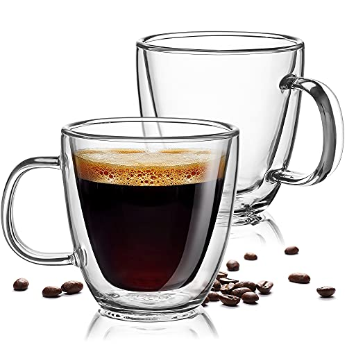 Zulay 5.4oz Glass Espresso Cup Set of 2 - Double Wall Insulated Clear Coffee Mugs With Handle & Suspended Base Design - Thick Expresso Coffee Cups For Americano, Lattes, Tea, Cappuccinos, and More