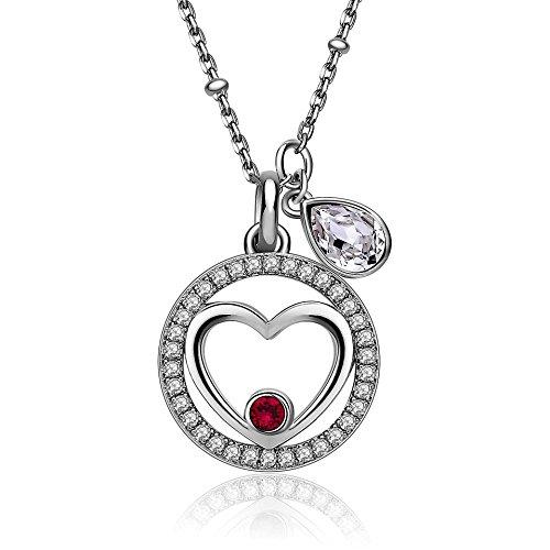 BROSWAY - Collana in argento con pendente cuore centrale e swarovski rosso BROSWAY G9NA06