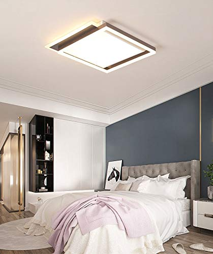 S-L Luz de techo de 30W LED 50W Lámparas de panel cuadradas de 50W, 150W equivalente a 2000LM de 3 colores Luz regulable, montaje en superficie Lámpara de techo Lámpara de techo Chandelier, para la co