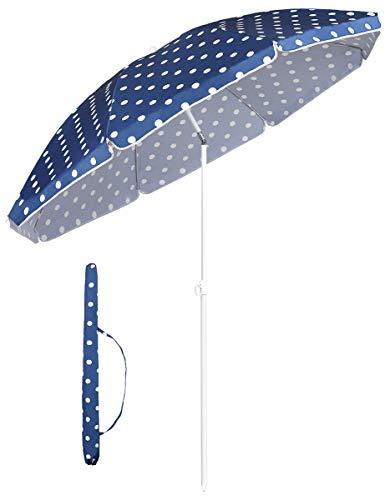 Sekey® Sonnenschirm 160 cm Marktschirm Gartenschirm Terrassenschirm Blau & weiß Rund Sonnenschutz UV20+