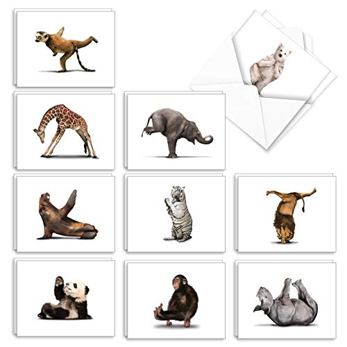 The Best Card Company - 20 Blank Yoga Animal Cards (4 x 5.12 Inch) - All Occasion Kids Set (10 Designs, 2 Each) - Zoo Yoga AM6547OCB-B2x10