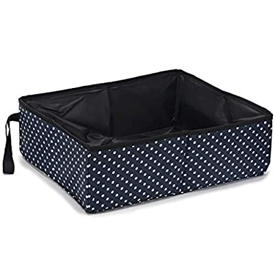 risdoada Portable Collapsible Cat Litter Box, Waterproof Soft Fabric Cats Litter Pan, Pet Toilet Poop Boxes for Travel Outdoor Home, Blue