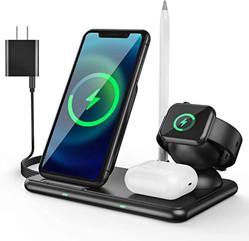 DYHQQ Estación de Carga inalámbrica 4 en 1 para Productos Apple Base de Carga inalámbrica rápida Plegable de 15 W para múltiples Dispositivos, iPhone 11/11 Pro MAX/XR