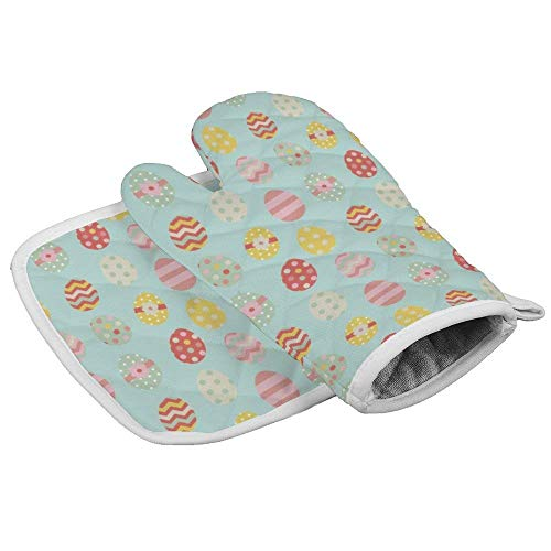 Zeyustge Set of Oven Mitt (7 x 13 Inches) and Pot Holder (8